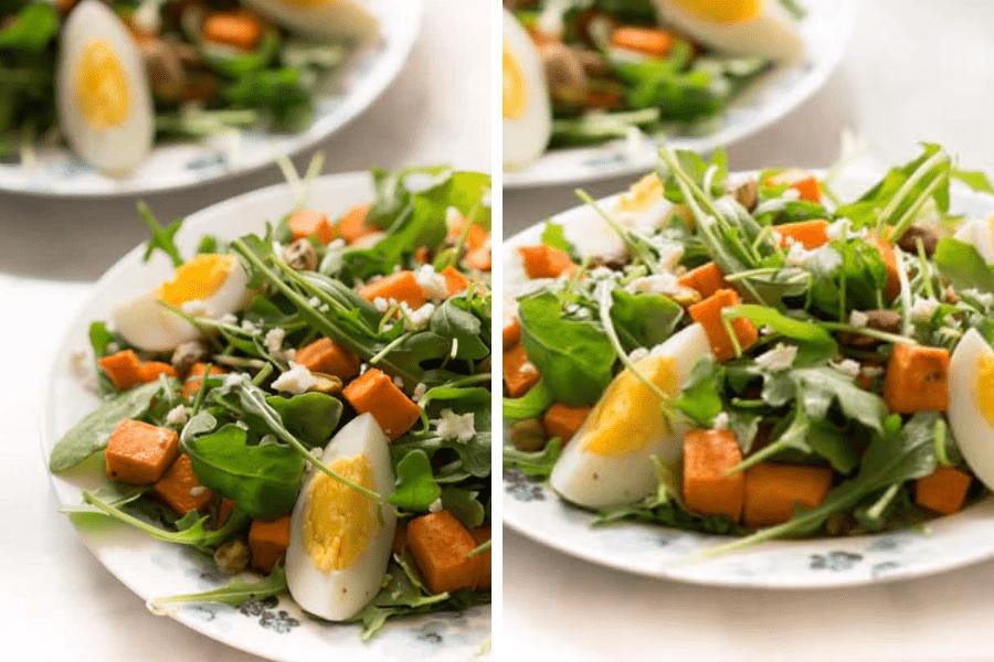 Salată cu verdețuri și cartofi dulci