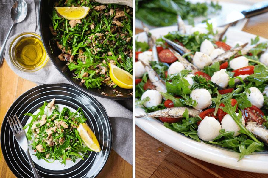 Salată cu rucola și sardine