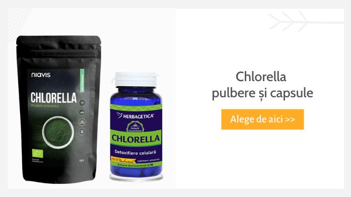Chlorella pulbere și capsule